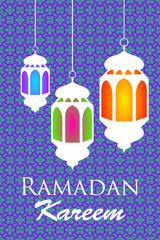 Ramadan kareem arabic pattern lanterns fanous background.