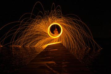 Steel Wool on Dock | Long Exposure Photography