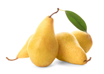Yummy fresh ripe pears on white background