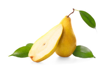 Yummy fresh ripe pear with slice on white background