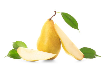 Yummy fresh ripe pear with slices on white background