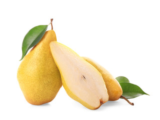 Yummy fresh ripe pears with slice on white background