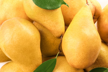 Fresh ripe pears as background, closeup