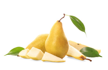 Yummy fresh ripe pears with slices on white background