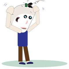 cartoon Illustration fable idea a bald man and a fly