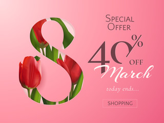 Template of sale banner for Women's Day with vector red realistic tulips. Holiday pink background for design of flyers with promotional discount offers for 8 March with eight cut out from paper.