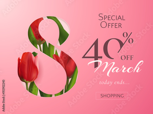 template of sale banner for women s day with vector red realistic