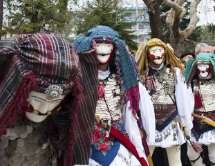 NAOUSSA, GREECE - FEBRUARY 18, 2018: The ancient custom of Genitsari and Boules. A dance-event taking place every year at the town of Naoussa, in Northern Greece, during the period of the carnival.