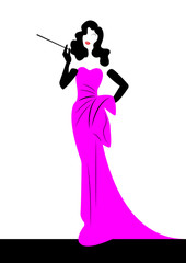 shop logo fashion woman, black silhouette diva. Company logo design, Beautiful cover girl retro in Pink dress , vector  isolated