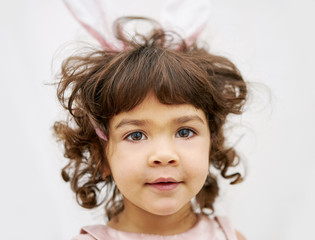Close up portrait of spanish little girl