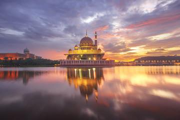 Putra Mosque and Perdana Putra in Putrajaya at the sunrise