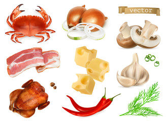 Food flavors and seasonings for snacks, natural additives, spice and other taste in cooking. 3d realistic vector icon set