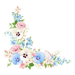 Vector corner background with pink, blue and white spring flowers.