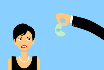 Woman staring at money vector image