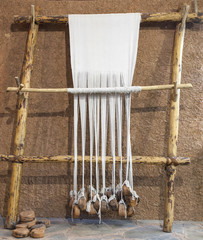 Reconstructed prehistoric age weaving loom