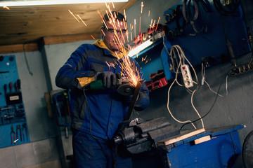 Male welder in workshop