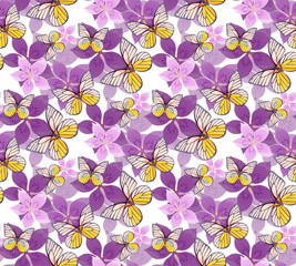 floral and butterflies seamless pattern.