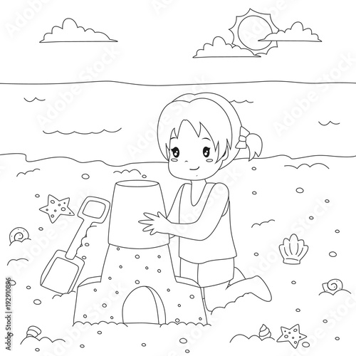 Happy girl making a sand castle on the beach beach holiday happy girl making a sand castle on the beach beach holiday printable coloring page maxwellsz