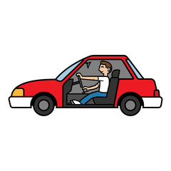 Cartoon Side view of a Man Driving Illustration