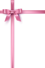 Pink bow and ribbons on white background. Vector template.
