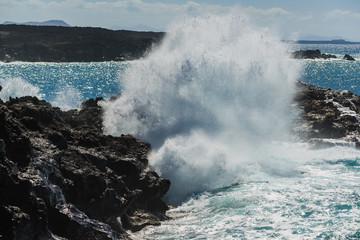 Storm on the coast of El Golfo. Lanzarote. Canary Islands. Spain