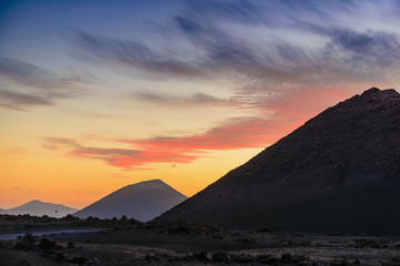 Stunning view of the volcanic landscape at sunset. Lanzarote. Canary Islands. Spain