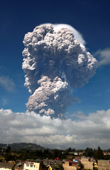 Ash from Mount Sinabung volcano rises to an approximate height of 5,000 meters during an eruption in Karo, North Sumatra