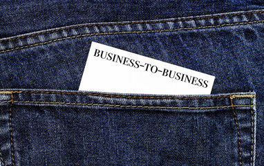 B2B Business card in trouser pocket