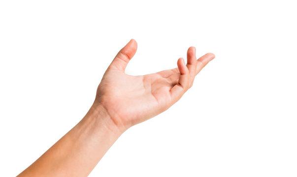 ํYoung woman hand isolated on white  background.