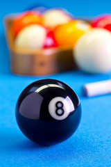 Billiard pool game eight ball with cue on billiard table