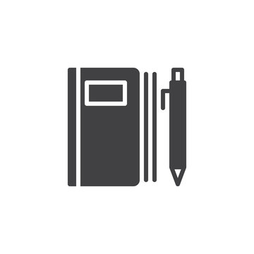 Notebook and pen vector icon. filled flat sign for mobile concept and web design. Writing note simple solid icon. Symbol, logo illustration. Pixel perfect vector graphics
