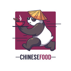 Funny cartoon panda takes an bowl full of asian food, vector logo design template