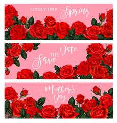 Blooming spring rose flower greeting banner design