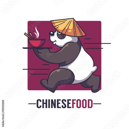 Funny Cartoon Panda Takes An Bowl Full Of Asian Food Vector Logo