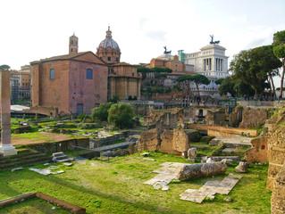 View of the Santi Luca e Martina Basilica from the Roman Forum. Rome, Italy