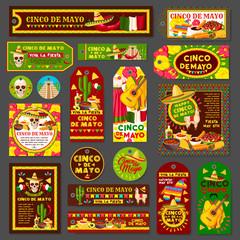 Cinco de Mayo mexican fiesta party tag and card