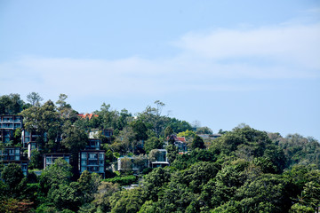 buildings among tropical trees in Thailand