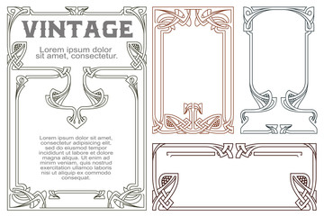 Vector vintage labels on different versions. Wall mural
