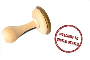 Ein Stempel mit dem Aufdruck Willkommen in den Vereinigten Staaten von Amerika