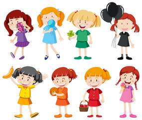 Girls in different color shirts