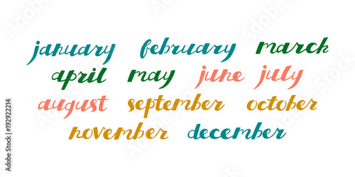 Hand Drawn Calendar Set Set Of Months Of The Year Handlettering