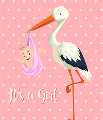 Stork baby with baby girl on pink background