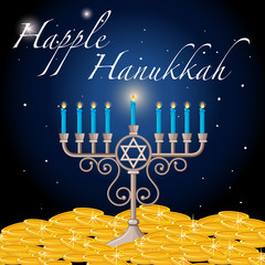 Happy Hanukkah card template with light and gold