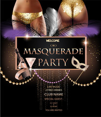 MASQUERADE PARTY INVITATION CARD WITH PARTY DECO OBJECTS, YOUNG WOMEN IN GOLDEN PANTIES. VECTOR ILLUSTRATION