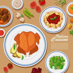 Poster design with different types of food