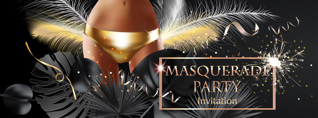 MASQUERADE PARTY INVITATION CARD WITH TROPICAL LEAVES, YOUNG WOMAN IN GOLDEN PANTY. VECTOR ILLUSTRATION