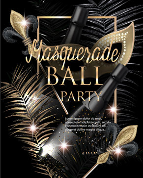 MASQUERADE PARTY INVITATION CARD WITH CARNIVAL DECO OBJECTS. GOLD AND BLACK. VECTOR ILLUSTRATION[Converted]