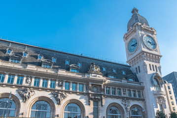 Paris, gare de Lyon, railway station, facade and clock