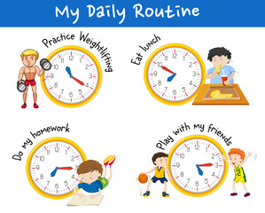 Daily routine for different people with yellow clocks