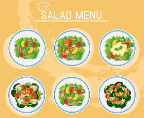 Different plates of salad on menu